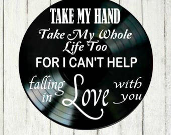 Wedding Song Lyric Art - Wedding Song Art - Vinyl Record Art - Elvis Wedding Gift - Anniversary Gift - Home Decor - Gift for Bride