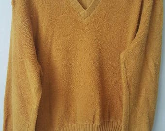 Retro Grunge Soft Sweater in Mustard Yellow, Size Medium, V Neck 77