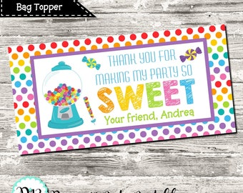 Sweet Shoppe Treat Bag Topper Candy Party Rainbow Polka Dot ThanksFor Celebrating Birthday Favor Digital Printable