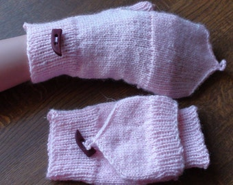 Hand knitted figerless mittens with mitten flap  Fingerless Mittens Arm warmers