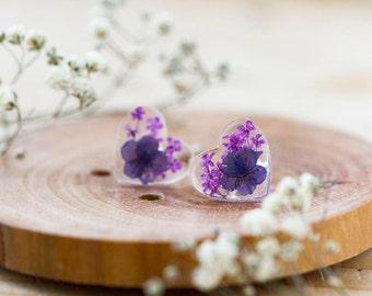 Real Flower Earrings - Purple Earrings - Sterling Silver - Botanical Jewellery , Pressed Flowers , Nature Jewellery , Resin Earrings