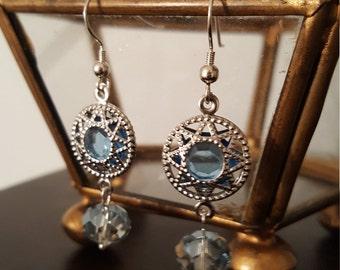 Baby blue glass beaded earrings