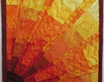 Art Quilt Blocky Sun 6 Small, Wall Quilt, Wall Hanging, Abstract quilt