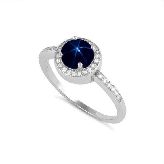blue star sapphire ring sterling silver genuine blue star. Black Bedroom Furniture Sets. Home Design Ideas