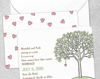 KISSING - Card - Save the Date - Includes Back Side Printing + Envelope