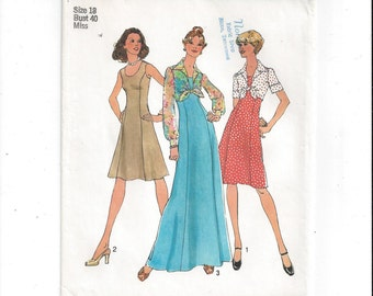 Simplicity 6761 Pattern for Misses' Lined, Princess Seamed Dress, Unlined Jacket, Size 18, From 1974, Vintage Pattern, Home Sewing Pattern