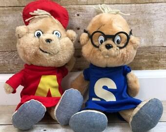 VTG Chipmunks Plush Dolls, The Chipmunks, Plush Dolls, Stuffed Animals, 1980s, Alvin, Simon, 1983, BAGDASARIAN, CBS Toys