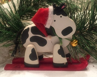 SKIING COW ORNAMENT adorable vintage hand painted Christmas tree Ornament 5D-312
