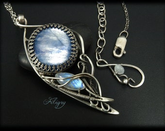 Kyanite, Rainbow Moonstone  935 Silver Necklace with VIDEO