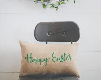 Happy Easter Pillow, Decorative Pillow Decor Pillow Easter Pillow Spring Pillow burlap pillow 14x 9 accent pillow, farmhouse style