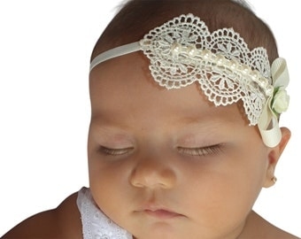 Baptism Headpiece, Ivory Headband, Lace Headband, Baby Headband, Infant Headbands, Newborn Headband, Christening Headband, Ivory Headpiece