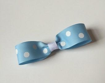 Light Blue and White Polka Dot Hair Clip on French Barrette