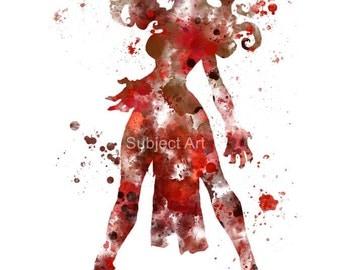 Scarlet Witch ART PRINT illustration, Superhero, Marvel, Avengers, X-Men, Home Decor, Wall Art