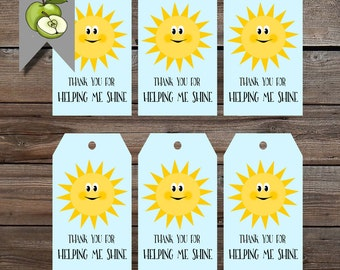 Shine gift tags, summer sun, Teacher gift, end of year tag, thank you for helping me shine, Teacher gift tag, Thank you, Printable DOWNLOAD