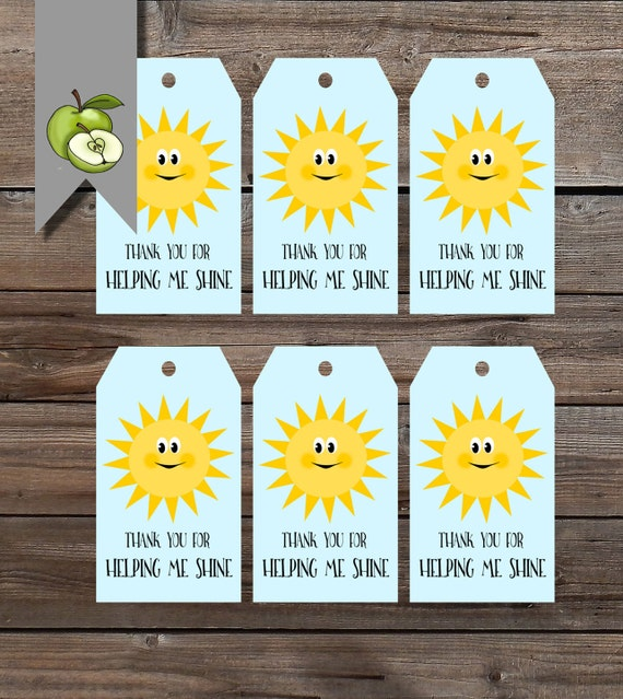 Shine gift tags summer sun Teacher gift end of year tag