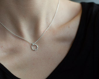 Hammered Silver Necklace, Simple Circle Necklace, Dainty Jewellery, Minimalist Necklace, Layering Necklace, Layering Jewelry, Gift under 50