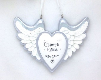 FREE SHIPPING Heart with Wings Personalized Christmas Ornament / Memorial Ornament / Rest in Peace Ornament / Baby Memorial Ornament / RIP
