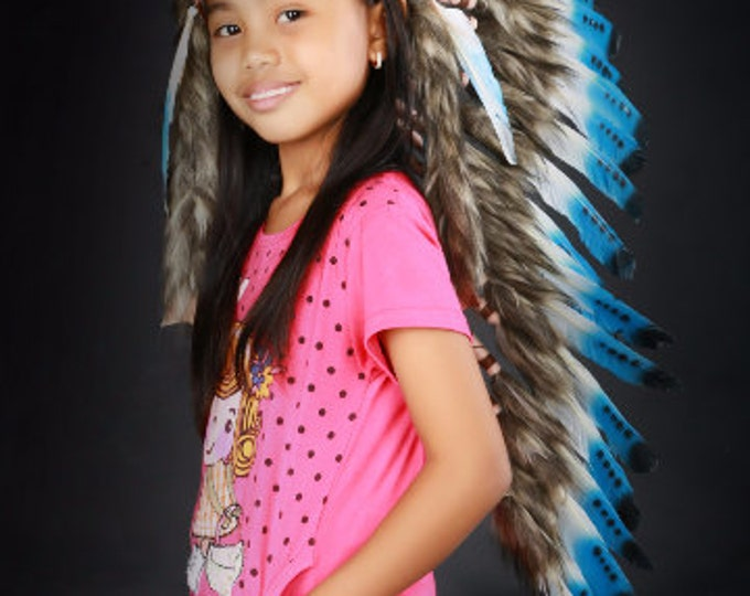K15 From 5-8 years Kid / Child's: Long blue swan feather Headdress 21 inch. – 53,34 cm.