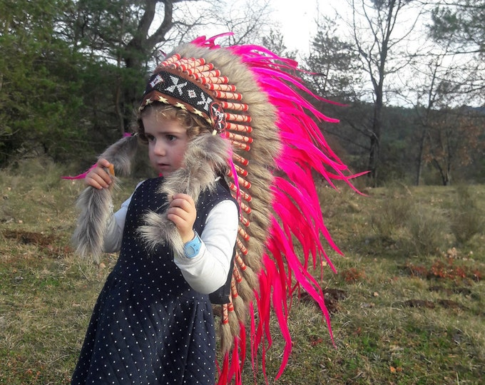K10- From 2-5 years Kid / Child's: Pink Indian Headdress 20,5 inch. – 52 cm