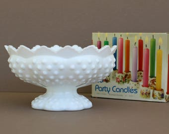 Vintage Fenton Hobnail Epergne Centerpiece Bowl, Milk Glass Hobnail Candlestick Holder Compote Bowl, Fenton White Vase, Wedding Decor