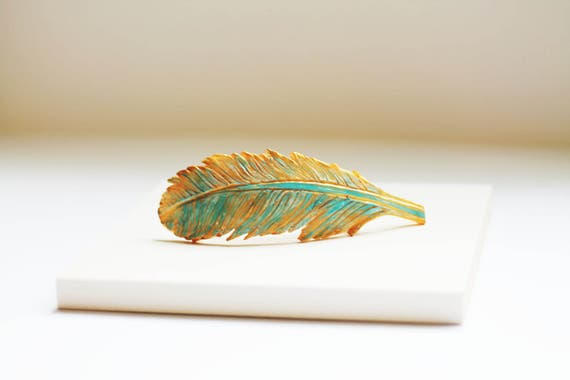 Feather Hair Clip, Feather Barrette, Large Hair Barrette, Clip for Thick Hair, Wedding Hair Clip, Unique Hair Accessory, Feather Clip