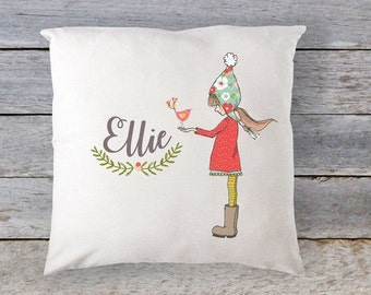 Christmas Pillow, Personalized Christmas Pillow, Girls Pillow, Personalized Pillow, Kids Pillow, Girls Personalized Pillow, RyElle