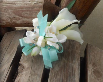 Beach Wedding / Destination Wedding / Tropical Flowers / Spa Blue Real Touch Silk Pin On or Wrist Corsage / Silk Prom Flowers / Spa Bue