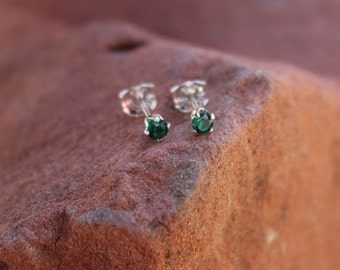 May Birthstone Gift, 3mm Emerald Stud Earrings, Sterling Silver, Round Cut Gemstone, May Birthday Gift