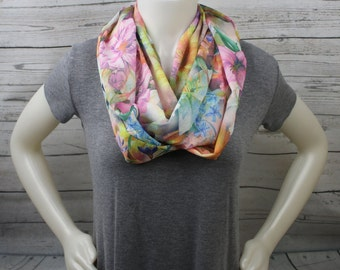 Lightweight Floral Infinity Scarf