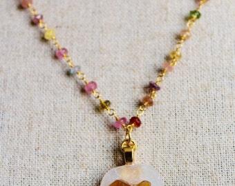 "Sea glass necklace, Heart necklace, Valentine gift, Valentine's Jewelry, Sea glass jewelry, Tourmaline necklace, Heart pendant, ""Sea Love"""