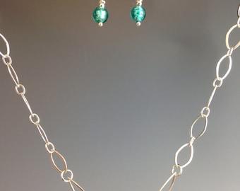 Venetian glass necklace, murano necklace, sterling necklace, teal green jewelry, sterling necklace, jewelry gift, Verde