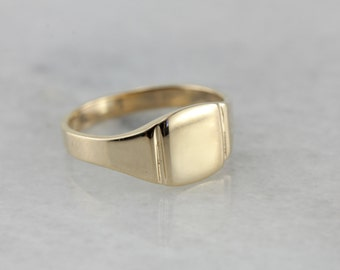 Polished Baby or Pinky Signet Ring in Yellow Gold 778NAE-D