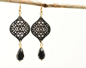 Black earrings, Dangling earrings, Long black earrings, Gift for her, Long earrings, Resin earrings, Filigree earrings, Party earrings