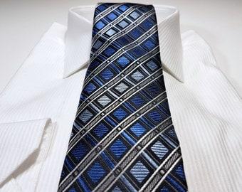 Silk Tie in Geometric Shades of Blue with Horizon Cornflower Charcoal Grey Black