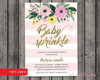 Baby Sprinkle Watercolor Baby Girl Shower Invitation Digital Download