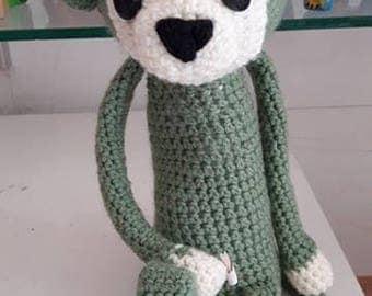 Adorable green monkey amigurumi