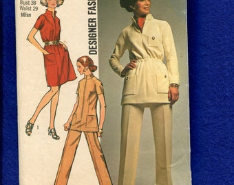 1970's Simplicity 8914 Safari Chic Star Trek Inspired Tunic or Dress Size 18