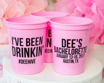 Bachelorette Party Favor, Custom Party Cups, Bridal Party, Plastic Stadium Cup, Personalized Cups, Bar Crawl, Birthday Party Cups, Hen Party