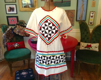 1960s Vintage Ethnic Tunic Blouse Bright Colors Silver Beads