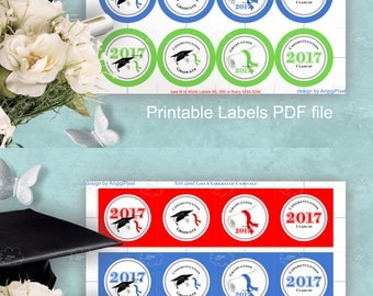 Graduation Labels Class of 2017 - printable - Congratulation - cupcake toppers round label 2.5 in red blue green PDF download