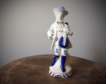 Vintage Dresden Lace Delft Style Blue & White Ceramic Figure Man Porcelain Baroque Rococo Figurine Musician Decorative French Statuette RARE