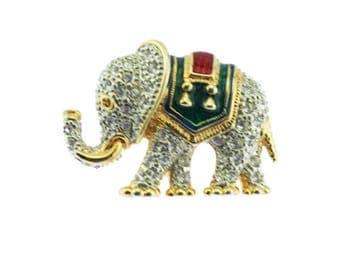 Rhinestone Elephant Brooch, Rhinestone and Enamel Elephant Brooch, Circus Elephant Brooch