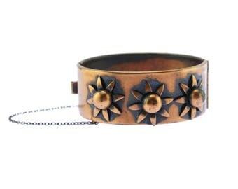 Flower Copper Bracelet, Wide Copper Bracelet,  Copper Flower Bracelet, Copper Daisy Bracelet