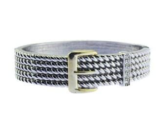 Silver Belt Bracelet, Silver Clamper Bracelet, Silver Belt Clamper Bracelet, Rhinestone Bracelet