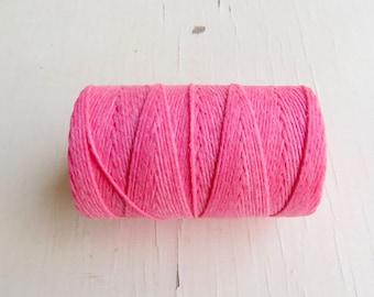 Fuchsia 4 ply Irish waxed linen cord - 5 yards - Irish waxed linen thread, pink irish linen cord, 4ply irish linen uk