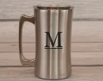 Stainless Steel Beer Stein, Groomsman Gift, Beer Mug, Beer Stein, Mugs, Personalized, Cups, Father's Day Gift, True North, Stainless Steel