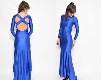 Vintage 90's Blue Spandex Maxi Dress / Backless Glossy Blue Train Dress / Long Sleeve Maxi Dress / Criss Cross Back Maxi Dress- Size Small