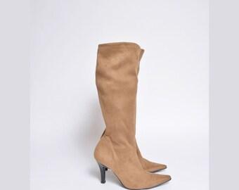 Vintage 90's Tall Brown High Heel Sock Boots