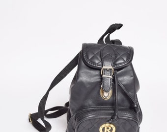 Vintage 90's Black Faux Leather Mini Backpack with Canvas Straps