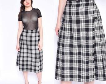 Vintage 80's Tartan Wool Skirt / Wrap Up Pleated Midi Skirt / High Waist Plaid Wool Skirt / Black And White Pleated Skirt - Size Small